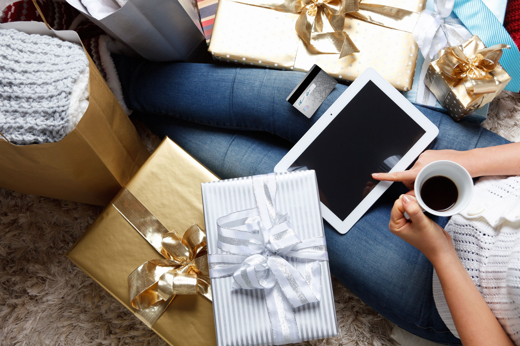 47846021 - woman shopping online at christmas